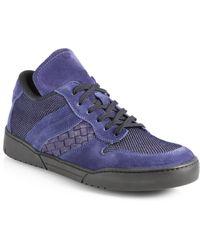 Bottega Veneta Blue Suedemesh Sneakers - Lyst