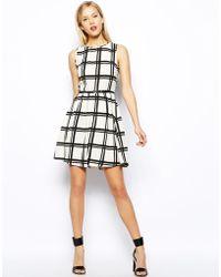 Oasis Grid Print Skater Dress - Lyst