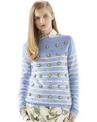 Gucci Crystal Embroidery Striped Cashmere Sweater - Lyst