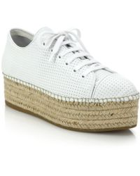 Miu Miu | Perforated Leather Lace-up Esapdrille Sneakers | Lyst