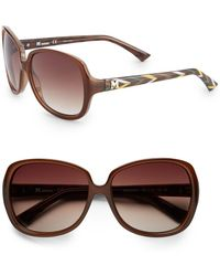 Missoni Square Brown 58Mm Printed Temple Sunglasses - Lyst