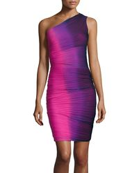 Halston Heritage Oneshoulder Ruched Ombre Dress - Lyst
