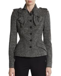 Burberry Prorsum Tweed Ruffle Front Jacket - Lyst