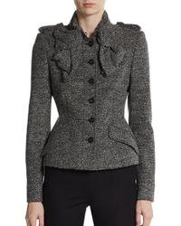 Burberry Prorsum Tweed Ruffle Front Jacket gray - Lyst