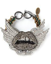 Venna - Crystal Embellished Lips Bracelet - Lyst