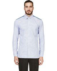 Junya Watanabe Blue Pinstripe and Green Plaid Contrast Panel Button_down Shirt - Lyst