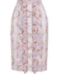 Miu Miu Ruffled Floral-Print Taffeta Pencil Skirt - Lyst