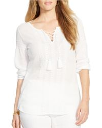 Lauren by Ralph Lauren Plus Embroidered Cotton Top - Lyst