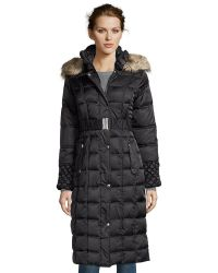 Betsey Johnson | Black Box Quilted Optional Belted And Hooded Jacket | Lyst
