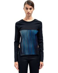 Paco Rabanne Womens Panelled and Blue Ribbed Sweater - Lyst