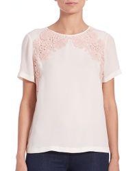 Tory Burch | Embroidered Silk & Linen-jersey Tee | Lyst