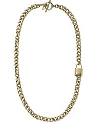 Michael Kors Long Padlock Chain Necklace Golden - Lyst