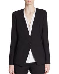 Helmut Lang Cropped Back Stretch-Wool Jacket - Lyst