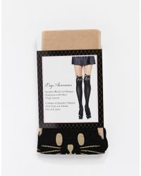 Leg Avenue - Cat Print Mock Over The Knee Tights - Lyst