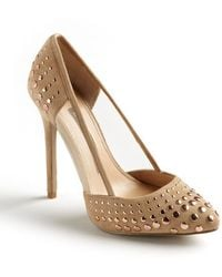 French Connection Calista Suede And Mesh Studded Pumps - Lyst
