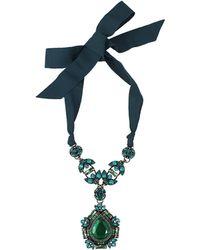 Lanvin Icon Crystal Pendant Necklace - Lyst