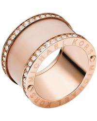 Michael Kors - Pavé Rose Gold-tone And Acetate Ring - Lyst