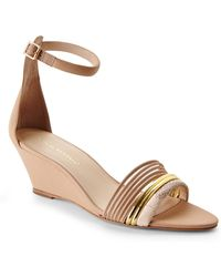 Loeffler Randall Cream Addie Wedge Sandals - Lyst