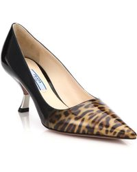 Prada Leopard-Print Patent Leather Pumps animal - Lyst