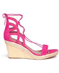 Aquazzura 'Mirage' Wedge Espadrille Caged Suede Sandals - Lyst