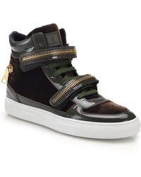 Louis Leeman Velvet & Patent Leather Double-Zip High-Top Sneakers brown - Lyst