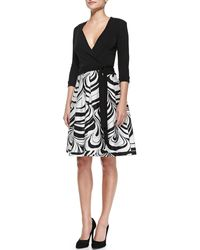 Diane von Furstenberg Jewel Faux-wrap Dress W Printed Skirt - Lyst