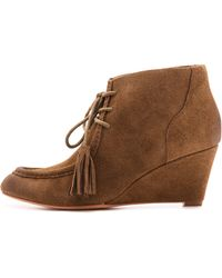 Rebecca Minkoff Mia Lace Up Wedge Booties Bark - Lyst