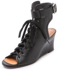 Chie Mihara Raceup Lace Up Sandals - Black - Lyst