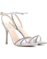 Valentino Embellished Satin Sandals - Lyst