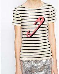 Sonia by Sonia Rykiel T-Shirt With Stripe And Safety Pin Print - Lyst