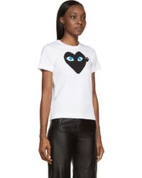 Play Comme des Garçons White And Black Heart T_Shirt - Lyst