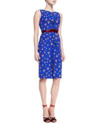 Carolina Herrera Sleeveless Diamond-print Dress - Lyst