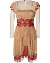 Alberta Ferretti Cap Sleeve Tulle Lace Dress - Lyst