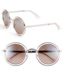 Oxydo 50Mm Round Metal Accent Sunglasses - Palladium/ Grey - Lyst