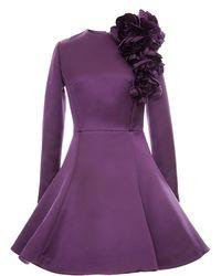 Esme Vie Lilac Washed Satin Peony Circle Mini Dress - Lyst