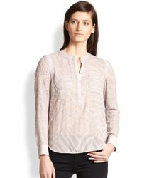 Rebecca Taylor Silk  Cotton Sheer Tiger-burnout Blouse - Lyst