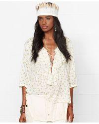 Denim & Supply Ralph Lauren Floral-Print Lace-Up Top - Lyst