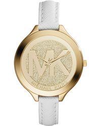 Michael Kors Goldtone Glitz Slim Runway Watch - Lyst