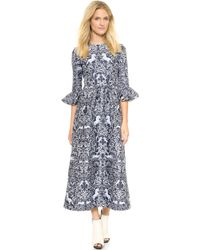 Mother Of Pearl Lyra Gathered Frill Sleeve Dress  Blue - Lyst