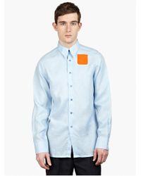 Raf Simons Men'S Blue Cotton Shirt blue - Lyst