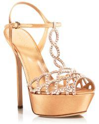 Sergio Rossi Platform Sandals - Vague Crystal High Heel beige - Lyst