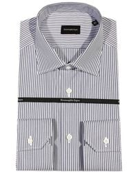 Ermenegildo Zegna  Jimmy Slim Fit Double Striped Cotton Shirt - Lyst