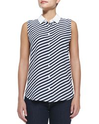 Equipment Sleeveless Diagonal-striped Top - Lyst
