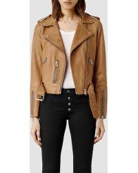 AllSaints Wyatt Leather Biker Jacket - Lyst