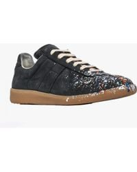 Maison Margiela | Replica Paint Splatter Leather Low-Top Sneakers  | Lyst