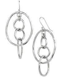 Tory Burch Hammered Drop Earrings - Worn Tory Silver silver - Lyst