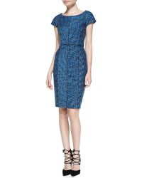Laundry By Shelli Segal Printed Capsleeve Dress W Seaming - Lyst