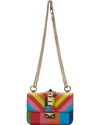 Valentino Green And Blue Leather Rockstud Striped Bag - Lyst