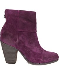 Rag & Bone Newbury Boot in Suede Plum - Lyst