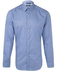Paul Smith Navy Gingham Check Cotton Shirt - Lyst